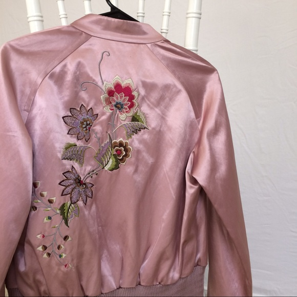 dc535cf871 Ted Baker Jackets & Coats   Pink Bomber Jacket W Embroidered Flowers ...